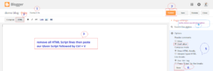 After copy-paste HTML script on HTML editor, you need to setup additional page setting like this image
